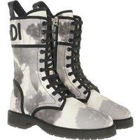 Fendi Boots & Stiefeletten - Floral Biker Boots Canvas - in grau - für Damen